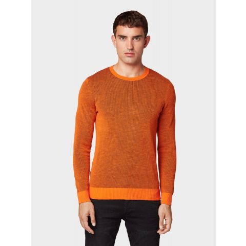 plated crew neck sweater