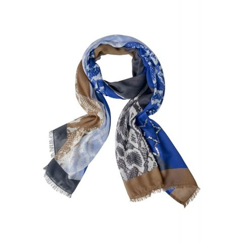 Snake Print Scarf With Sequins