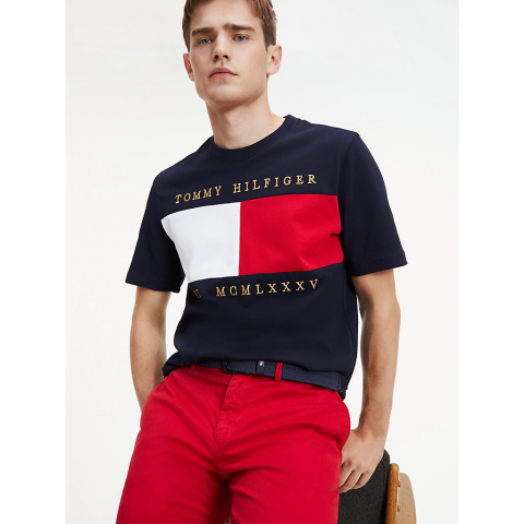 FLAG CHEST EMBROIDERY RELAX TEE